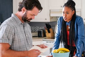 """Cape Breton born actor Billy MacLellan played Willy MacIsaac in a recent episode of the CBC series """"Diggstown"""" and is shown here with series star Vinessa Antoine who plays lawyer Marcie Diggs. CONTRIBUTED/CBC"""