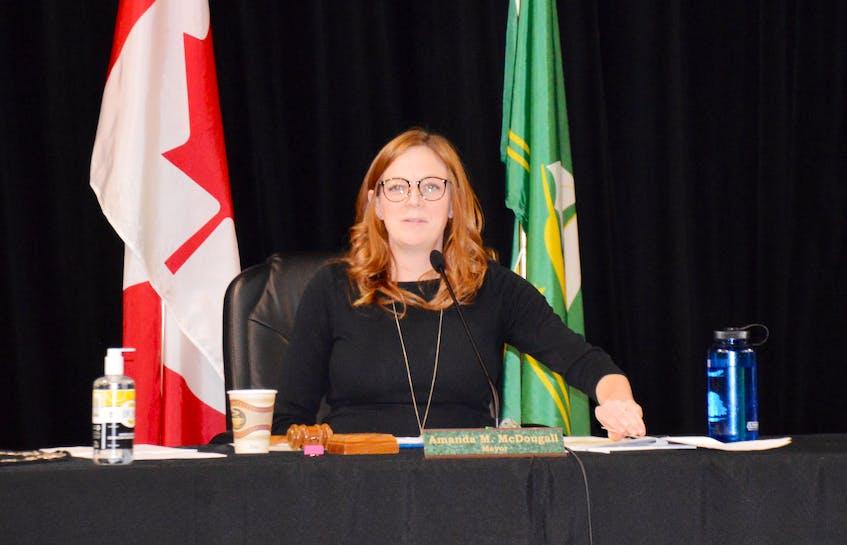 CBRM Mayor Amanda McDougall presides over a November 2020 council meeting. - David Jala / File