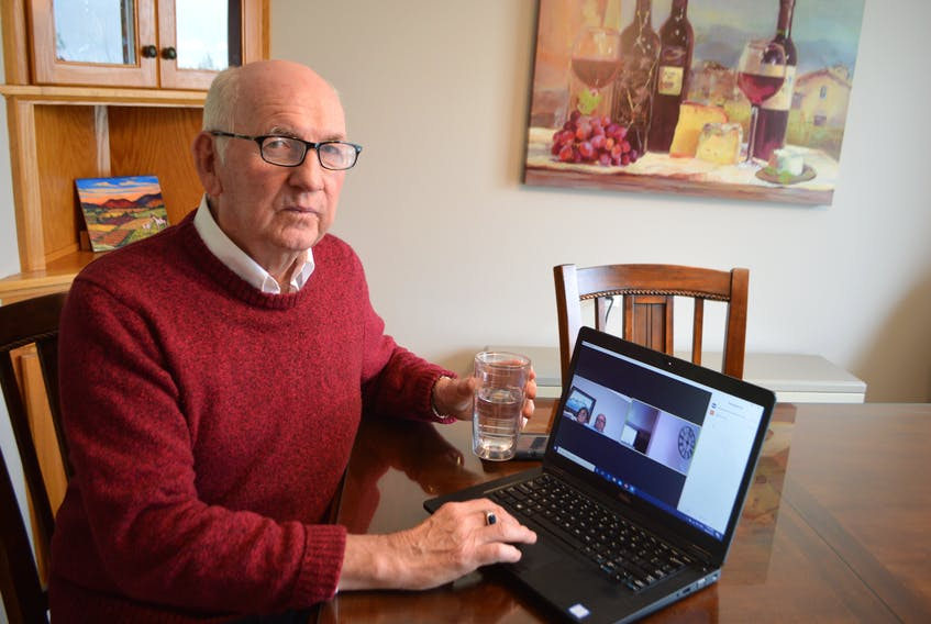 George MacDonald of Glace Bay, District 9 councillor for the Cape Breton Regional Municipality, chats about roadwork on Zoom with Dave MacLean and his wife Sadie of Glace Bay. MacDonald said with the COVID-19 crisis he misses interaction with the public but still deals with all municipal issues, just in a safe distancing way. Sharon Montgomery-Dupe/Cape Breton Post
