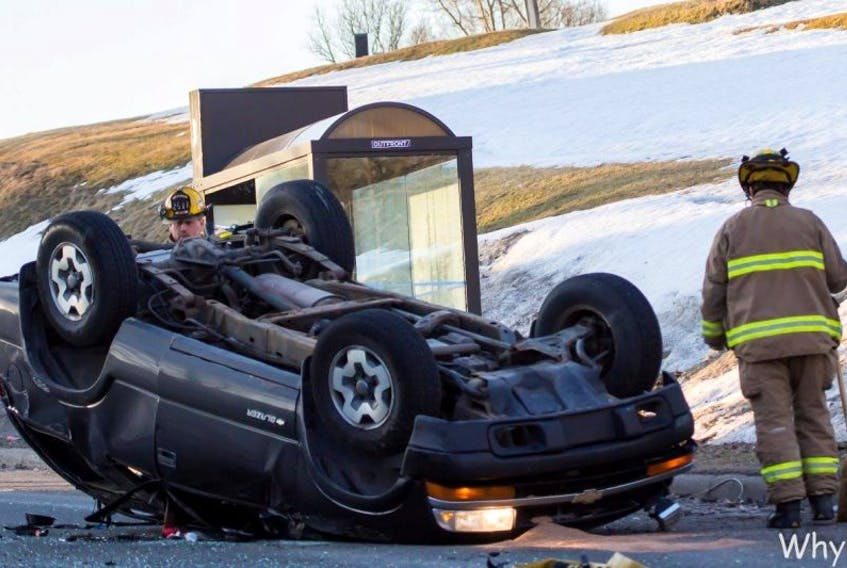 Water runoff and cold temperatures led to slippery driving conditions around Cape Breton on Thursday morning. That was thought to be the reason why this vehicle overturned on George Street around 7 a.m. No one was believed to have been injured in the single vehicle accident.<br /><br />