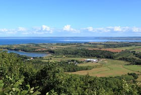 Perfectly pastoral: The Annapolis Valley and the Bay of Fundy from The Lookoff on North Mountain.