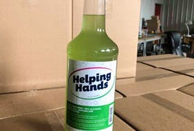 Glenora Distillery started producing Helping Hands hand sanitizer about two months ago as shortages of that product became noticeable. This 1.14-litre bottle is one of the sizes made available to essential workers. CONTRIBUTED
