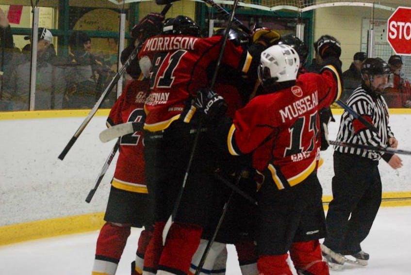 St. James Saints players celebrate a goal in the playoffs last season against Elwood High. The Saints play their first home game of the season Thursday night against those same Elwood High Lakers at the Bruce II.
