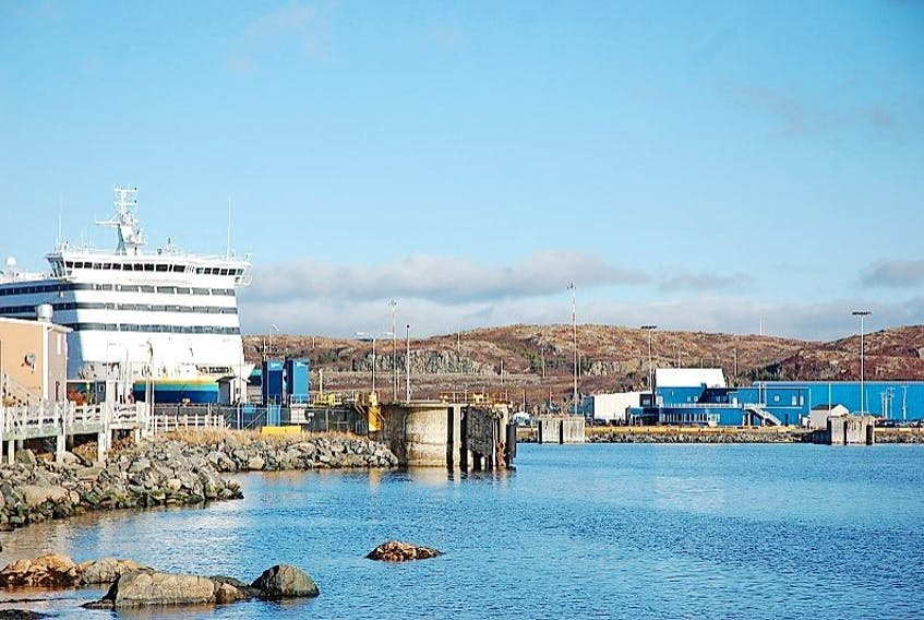 Marine Atlantic's MV Blue Puttees, docked at the terminal in Port aux Basques.