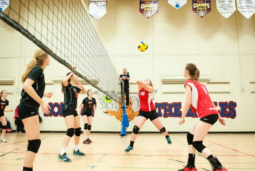 Kelsey Lawrence bumps the ball back to the Central team court on day one of competition at the Provincial U18 Girls Volleyball tournament in Grand Falls-Windsor.