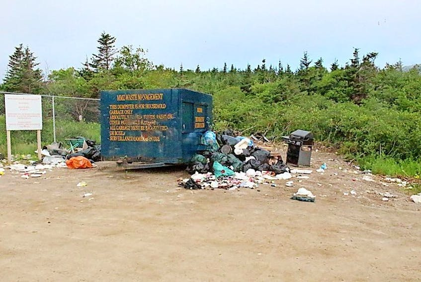 Garbage was dumped outside the gates and outside the provided container between Aug. 2-3.