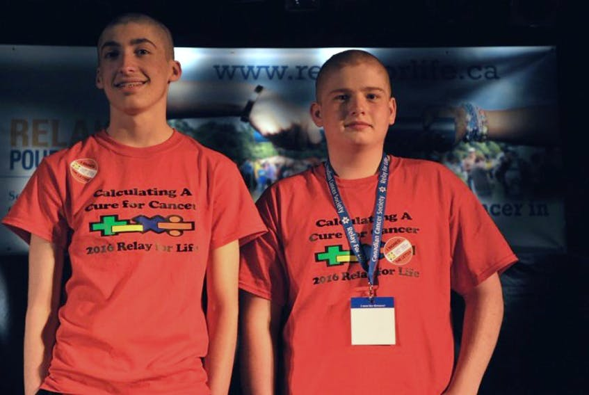 John Ingram and David Hann both shaved their heads during the 2016 Relay for Life.