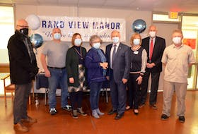 Kings County Mayor Peter Muttart, A Room of One's Own campaign team members Randy Sanford and Jane Bustin, GVMCCC board chairwoman Pauline Raven, Kings West MLA and Health and Wellness Minister Leo Glavine, GVMCCC CEO and administrator Menna MacIsaac, Berwick Mayor Don Clarke and board member and campaign team member Greg Hubbert at the announcement of a replacement facility for Grand View Manor. KIRK STARRATT