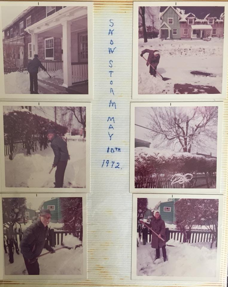 On May 10th 1972 a powerful May storm barreled across the region, setting all kinds of snowfall records in Atlantic Canada. Janine Angela Musolino Sanford shares this amazing photo montage. It's is a picture from her family photo album. In it, you'll find her grandparents Harold and Iris Johnson, and in the bottom left photo her great grandfather Gerald A Hatter shovelling snow on May 10, 1972, at the corner of Isleville and Stairs Pl in the Hydrostone in Halifax N.S.