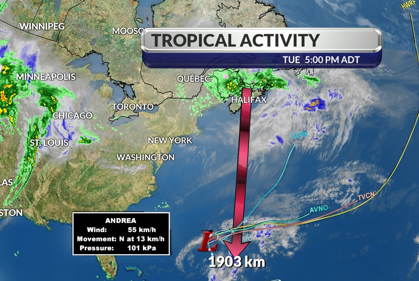 Andrea has come and gone, more than 1 week before the official start of the Atlantic Hurricane season. It seems fitting that our arctic cold front tore the tropical storm to pieces.