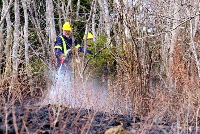Firefighters battle a grass fire that has spread into nearby brush.