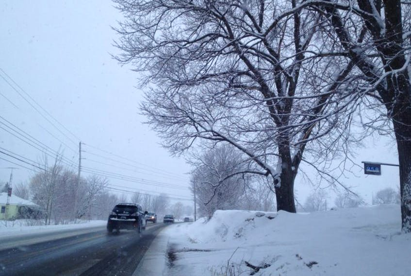 A snowy morning led to a slippery drive April 7 for many in the Annapolis Valley.