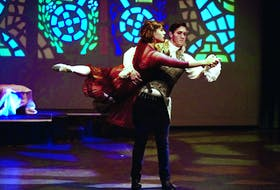 """Daniel Everitt as Paris and Kate Sanders as Juliet are seen in a rehearsal for Dance Studio West's production of """"Romeo and Juliet."""" The show will be onstage at the Corner Brook Arts and Culture centre Friday and Saturday night. - Photo by Andrea Barrett"""