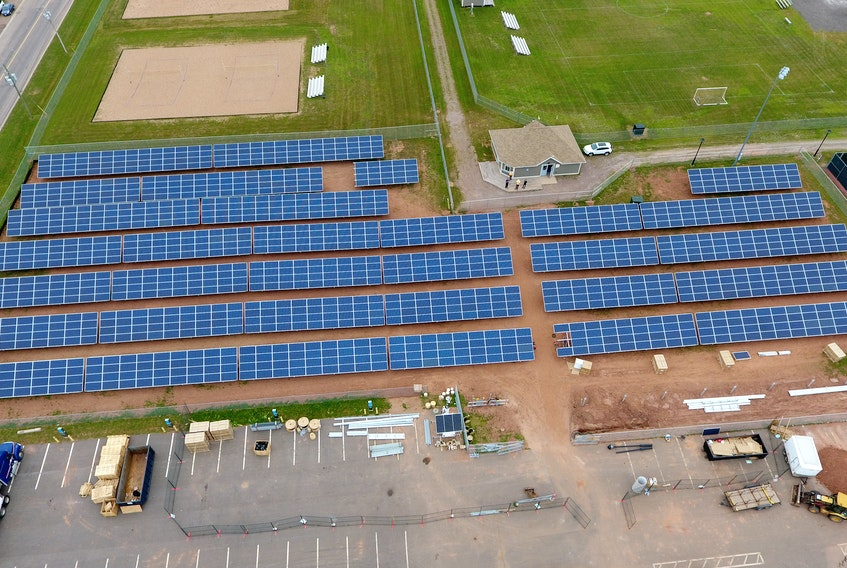 Summerside's 1,404 panel solar farm off Greenwood Drive. The installation opened in 2017 and helps offset energy costs for the Credit Union Place. Contributed/Higher Design Inc.