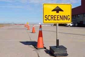 A COVID-19 screening station is set up at the Summerside Airport in Slemon Park.