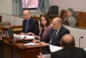 Pat MacDonald, manager of social supports, Karen McCaffrey, director of social programs, and David Keedwell, deputy minister of Social Development and Housing for the province of P.E.I., take questions during a standing committee meeting on poverty in this file photo.