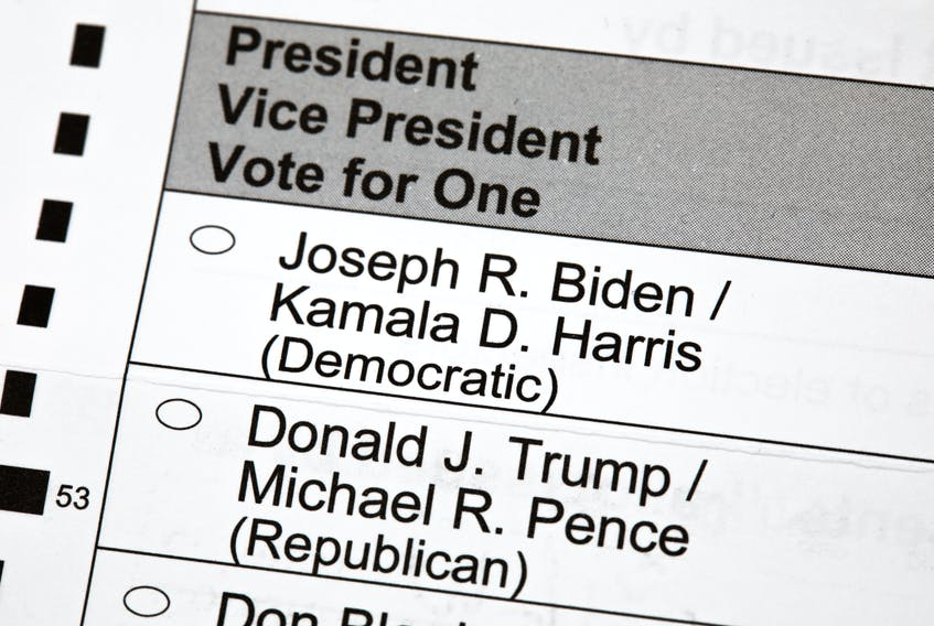 An unmarked 2020 U.S. presidential election voting ballot is shown up close. President Donald Trump has indicated he will seek to de-legitimize and cast doubt upon the presidential election results if he doesn't win on Nov. 3.