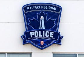 ['The Halifax Regional Police logo on the station in Burnside.']