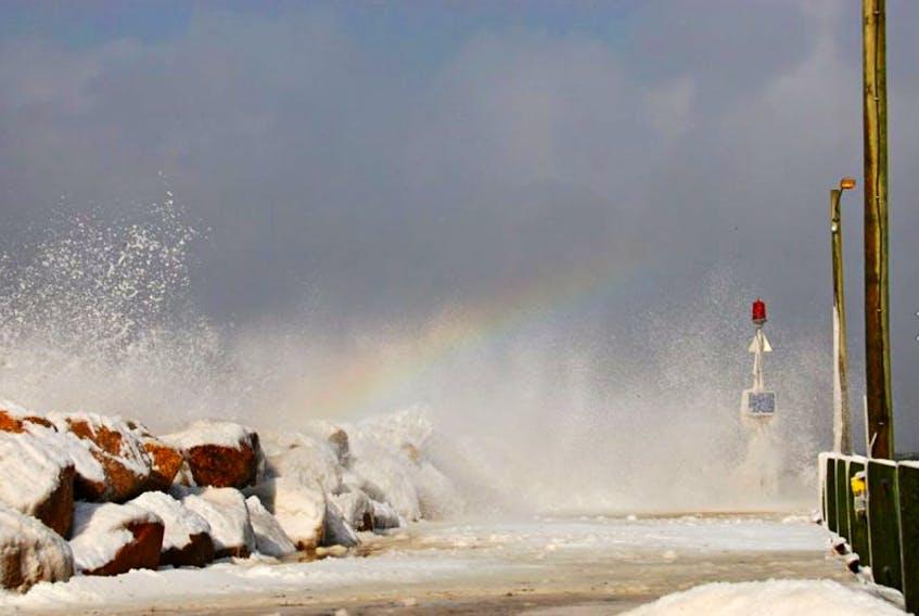 A Februrary rainbow at Hall's Harbour