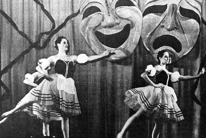 The Imperial Theatre in Windsor was sold-out for the Avon Arts Council's production of Yesterday, Today and Tomorrow in 1986. The show featured a wide variety of local and Nova Scotian acts, including the Marijon Bayer dancers from Halifax. The large masks were made especially for the show by Linda Holway Barkley, a Windsor-based sculptor.