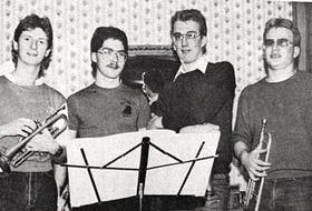 All but two members of the Brian Johnston 'Alumni' Big Band in 1986 were Windsor Regional High School alumni. Pictured here are, from left, Jeff Smith, Andrew Beazley, Andrew Latus and Mark Mumford.