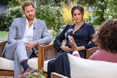 Prince Harry and Meghan, Duchess of Sussex, speak with Oprah Winfrey in an interview broadcast on March 7, 2021.