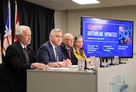 From left, Education Minister Brian Warr, Premier Dwight Ball, Health Minister John Haggie and Chief Medical Officer Dr. Janice Fitzgerald give an update Monday about the latest COVID-19 developments in the province. DAVID MAHER/THE TELEGRAM