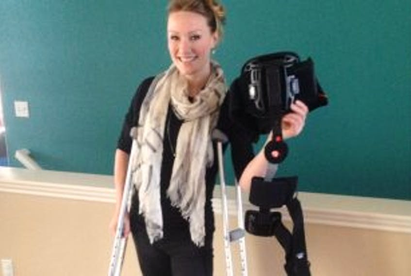 """[""""<p>Heather Moyse has gotten rid of her brace but she's still on crutches after her hip surgery. </p>""""]"""