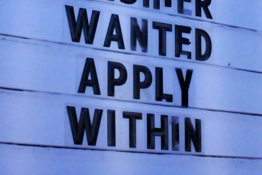 <p>A job posting is seen on the sign outside Home Hardware in Clarenville.</p>