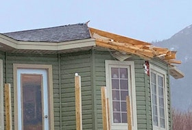 A section of the roof blew off Michael Joyce's York Harbour home on Monday forcing his family to evacuate. - Photo Courtesy of Michael Joyce