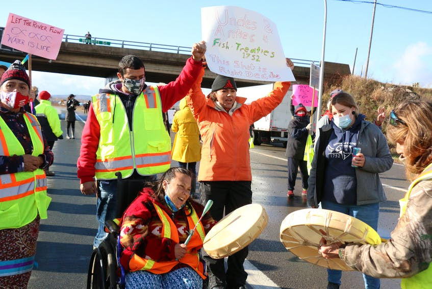 Members of various First Nations communities in Nova Scotia have been lobbying to see the causeway between Windsor and Falmouth opened up to allow free fish flow. Joined by non-Indigenous supporters, they let their concerns be known by protesting Nov. 16.
