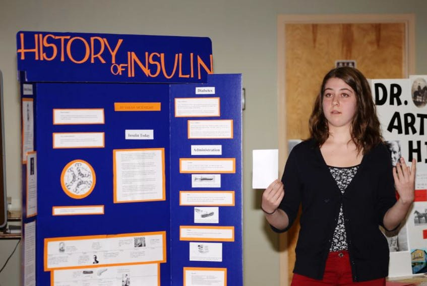 Sarah McKnight, a Grade 8 student from Pine Ridge Middle School in Kingston, was chosen the Annapolis Valley Regional School Board's representative at the 2015 Heritage Fair for her project on the history of insulin. McKnight made a presentation to the monthly school board meeting June 3 in Berwick.