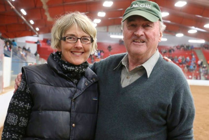 David Coombes, right, and his daughter, Lisa Hines, are both heavily involved with the Hants County Exhibition; Coombes has been the fair manager for more than 50 years and Hines is the current president of the Windsor Agricultural Society.