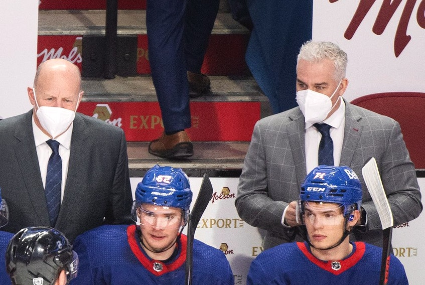 New Canadiens head coach Dominique Ducharme, right, has no experience as a bench boss in the NHL, but has already brought a renewed sense of excitement to the team.