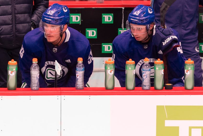 Vancouver Canucks captain Bo Horvat, left, and defenceman Quinn Hughes both say their excited to begin post-season play in Edmonton after enduring a summer training camp at Rogers Arena in Vancouver.