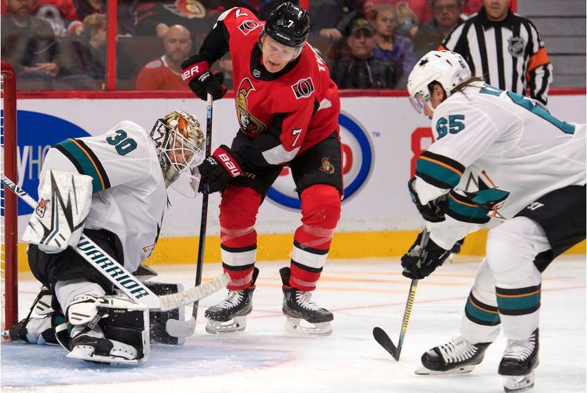 Oct 27, 2019:  San Jose Sharks goalie Aaron Dell (30) makes a save on a shot from Ottawa Senators left wing Brady Tkatchuk (7) in the second period at the Canadian Tire Centre.