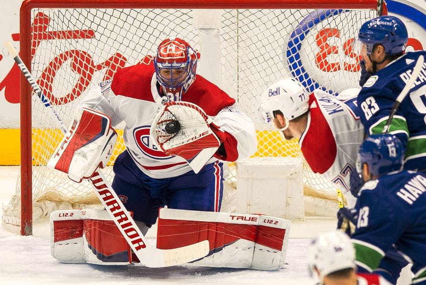 Montreal Canadiens goalie Carey Price (31) makes a save against the Vancouver Canucks in the second period at Rogers Arena. Montreal won 5-1.