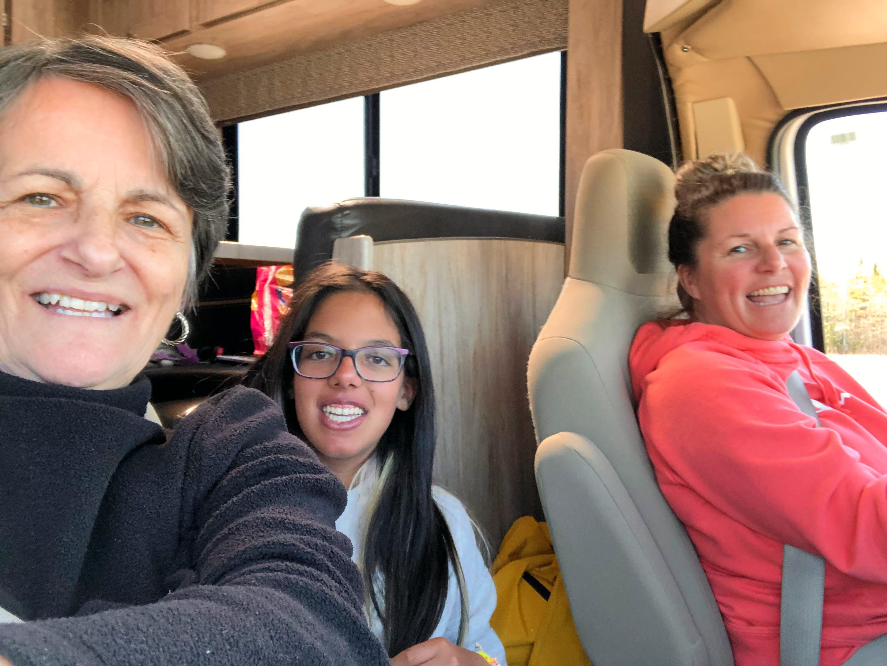 From left: Judy Robichaud, Tahlia Ali and Lisa Ali in the RV they drove to Toronto to wait for Tahlia's double-lung transplant.