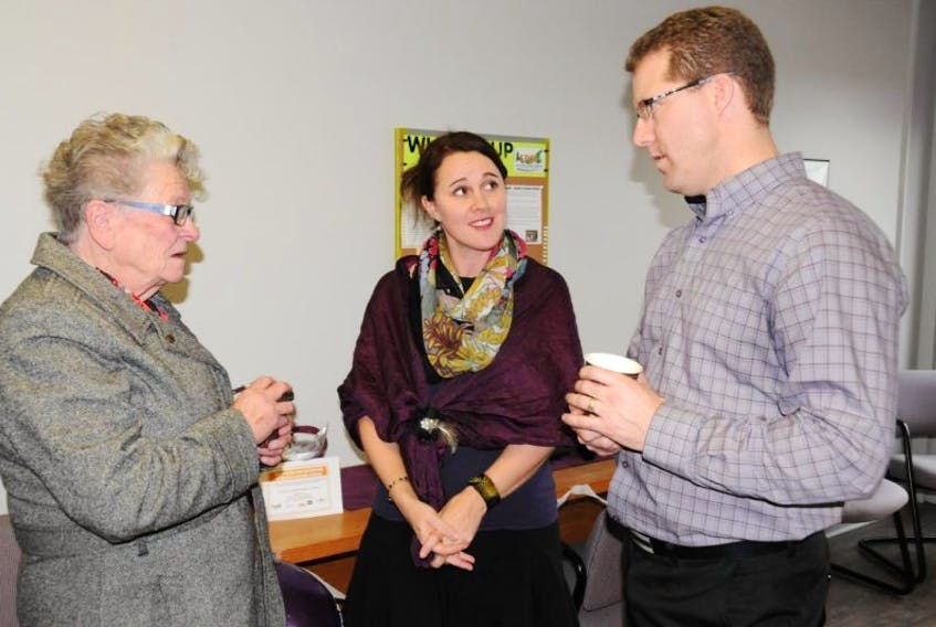 """<span class=""""occurence"""">Home Instead</span><span>&nbsp;Senior Care opened its first Summerside office on Thursday. To celebrate, the homecare company held an open house for staff and clients. Chatting among the visitors were, from left, Marilla Millar, Heather Blouin, community services representative, and franchisee David McMillan.</span>"""
