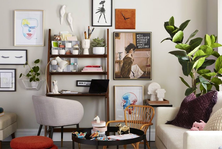 A family room can double as an at-home study space without lacking in style.