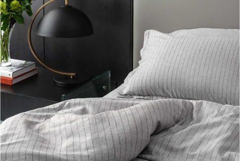 Neutral deep grey sheets complement many existing bedding accessory colours in comforters, pillows and throws.