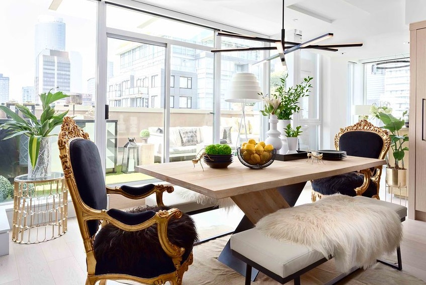 Regency-inspired dining chairs, in this apartment design by Kalu Interiors.