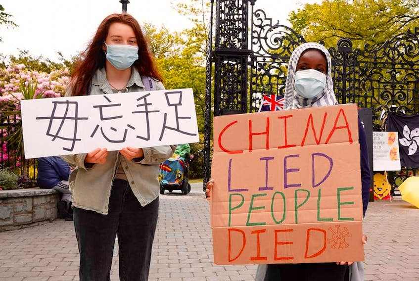 Demonstrators in Halifax, in early June 2020, protest China's crackdown on Hong Kongers' quest for freedom.