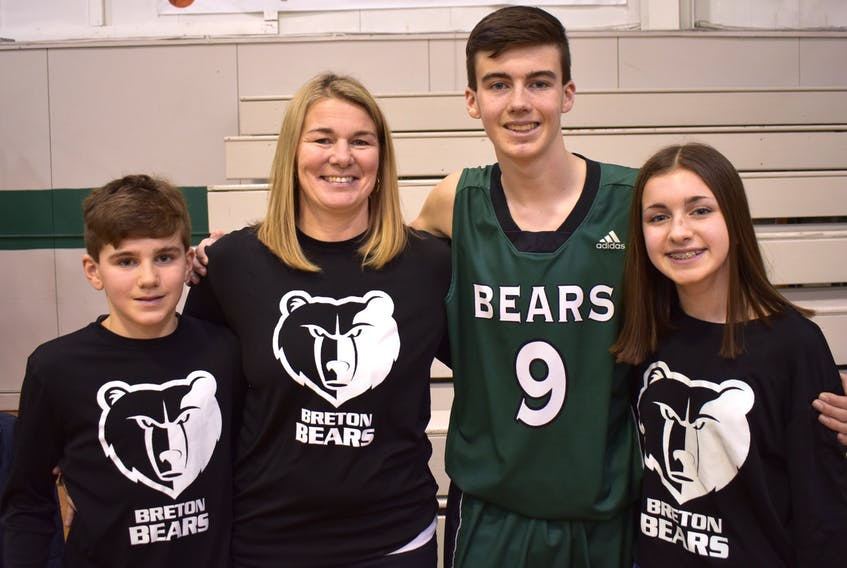 This week, the New Waterford Coal Bowl Classic committee is honouring Amanda (Wilcox) Chiasson and the late Robbie Chiasson by naming the high school basketball tournament divisions after Amanda and Robbie, both of whom have been high-level athletes and coaches over the years. Robbie died in an all-terrain vehicle accident on April 15, 2018, in New Waterford. From left the Chiasson family includes Justin Chiasson, Amanda Chiasson, Conor Chiasson and Catie Chiasson. Conor is a member of the Coal Bowl hosts, the Breton Education Centre Bears. JEREMY FRASER/CAPE BRETON POST