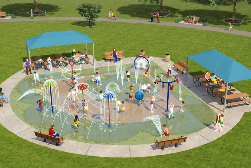 The proposed baseball-themed splash pad for the Hawks Dream Field in Dominion. CONTRIBUTED