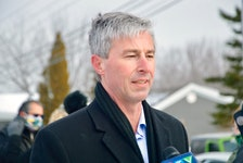 Nova Scotia PC leader Tim Houston talks about his party's proposed health care plan at a press conference held in Sydney, Wednesday. ELIZABETH PATTERSON/CAPE BRETON POST