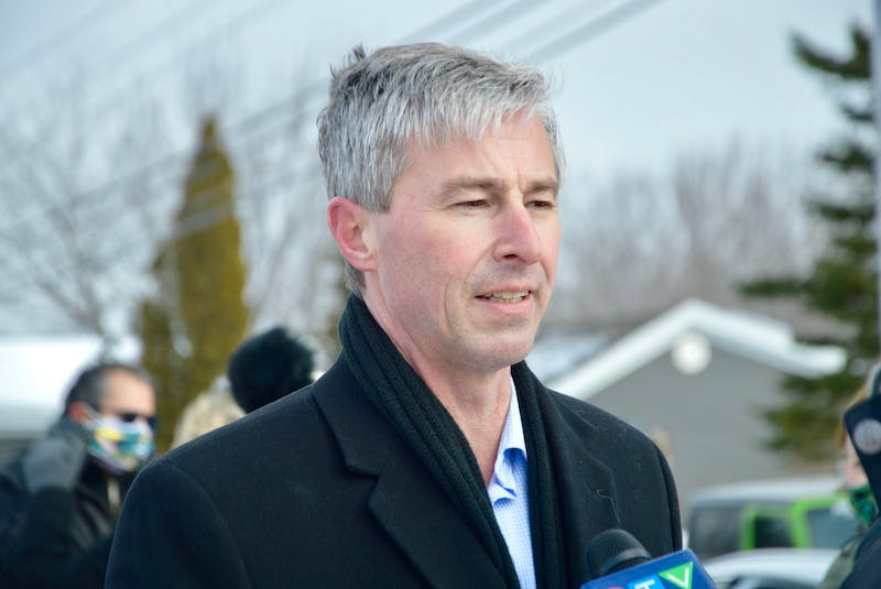 Nova Scotia PC leader Tim Houston talks about his party's proposed health-care plan at a news conference held in Sydney earlier this year. -- Elizabeth Patterson/Cape Breton Post