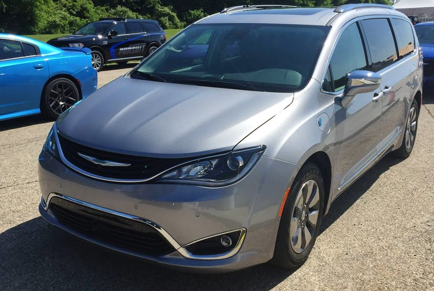 The 2019 Pacifica S-appearance model at FCA's What's New for 2019 event held Thursday at FCA's Proving Ground in Chelsea, Michigan. Chrysler was showing off its 2019 lineup to auto writers.