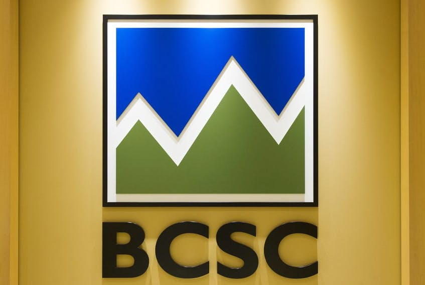 The logo for the British Columbia Securities Commission, Vancouver, November 02 2017.