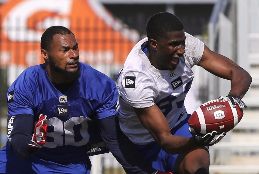 Winnipeg Blue Bombers defensive back Joe Este (30) defends wide receiver Josh Stewart (83) during a team mini-camp at IMG Academy in Bradenton Florida on Wednesday, April 24, 2019.  Photo by Tom O'Neill